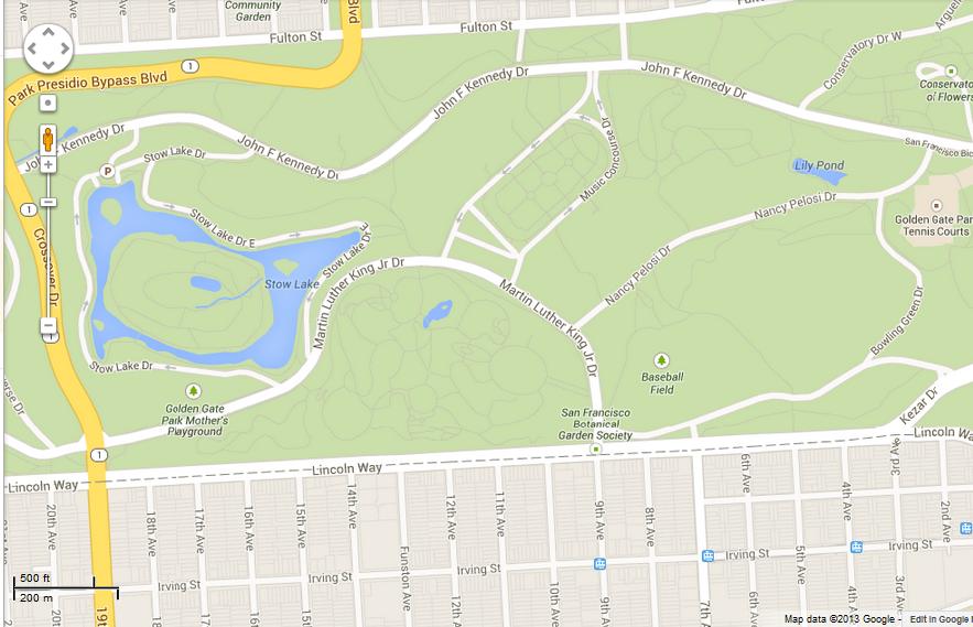 MINI Cooper Tour map of Inner Sunset
