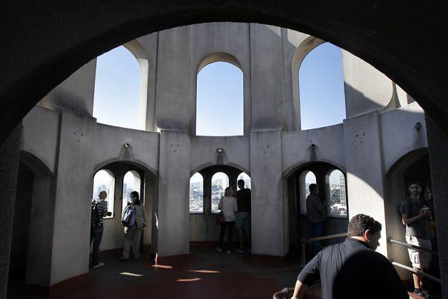 Coit Tower view from the top on the custom private tour of San Francisco