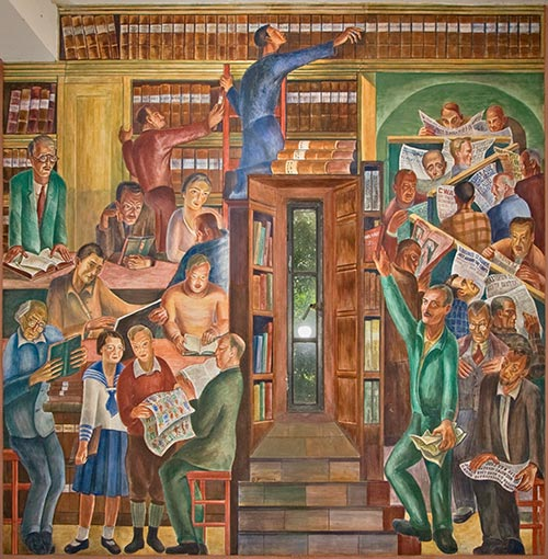coit tower library mural